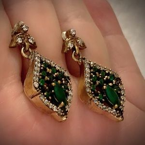 EMERALD EARRINGS Solid 925 Sterling Silver/Gold